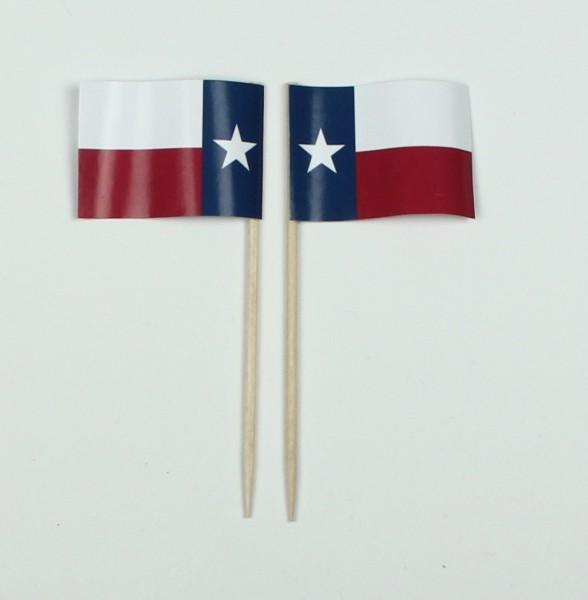 Party-Picker Flagge Texas USA Bundesstaat Papierfähnchen in Spitzenqualität 50 Stück Beutel
