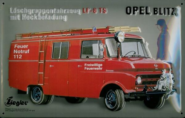 Blechschild Opel Blitz Feuerwehr Auto Wagen Nostalgieschild Schild