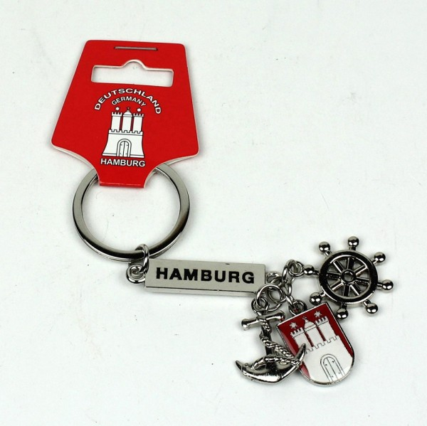 Schlüsselanhänger Hamburg Wappen Anker Steuerrad Mitbringsel Deko Souvenir Schlüßelanhänger