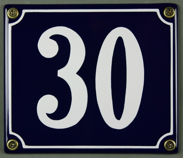 Hausnummernschild Emaille 30 blau - weiß 12x14 cm sofort lieferbar Schild Emaile Hausnummer Haus Num