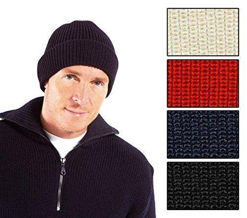 Rollmütze 100% Schurwolle in dunkelblau, wollweiß, rot oder schwarz von Modas mit Mengenrabatt