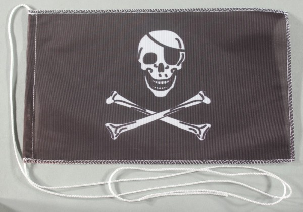 Tischflagge Pirat Piratenflagge Totenkopf 25x15 cm optional mit Holz- oder Chromständer Tischfahne T