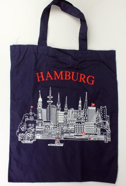 Hamburg Stofftasche Einkaufstasche blau mit Hamburger Skyline