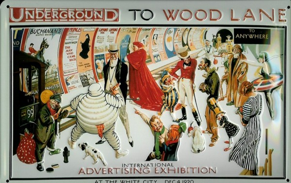 Blechschild Nostalgieschild London U-Bahn Tube Underground Wood Lane Bahnhof