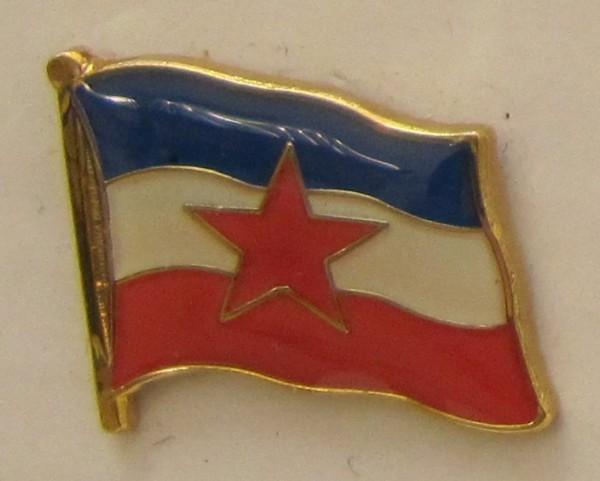 Pin Anstecker Flagge Fahne Jugolslawien mit Stern