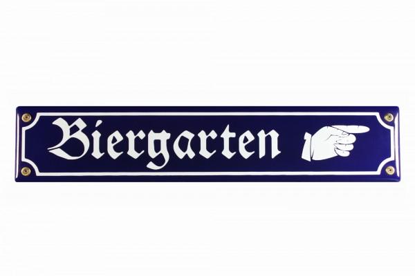 Strassenschild Biergarten Hand rechts 40x8 cm Email Strassen Schild Emaille