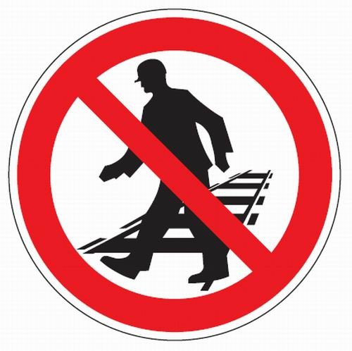 Aluminium Verbotsschild Betreten der Gleisanlagen verboten 200 mm / 0,6 mm Alu