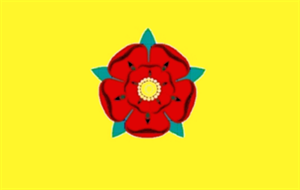 Flagge Fahne : New Lancashire (Red Rose) gelb England