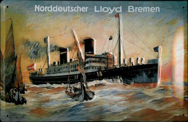Blechschild Norddeutscher Lloyd Bremen Dampfer Gemälde Schiffsporträt Schiff Schild Nostalgieschild