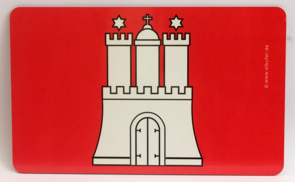 Frühstücksbrett Hamburg Wappen Burg Brettchen Frühstück Brett 23,5 x 14,3 x 0,2 cm