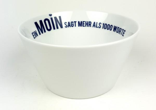 Porzellanschale Ein Moin sagt mehr als 1000 Worte blau weiß Schale Müslischale Suppenschale
