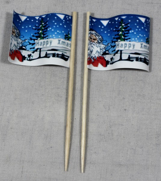 Party-Picker Flagge Weihnachten 5 Merry Xmas Papierfähnchen in Spitzenqualität 50 Stück Beutel