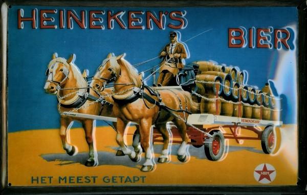 Blechschild Heineken Bier Pferdefuhrwerk Pferd Karre Schild retro Werbeschild