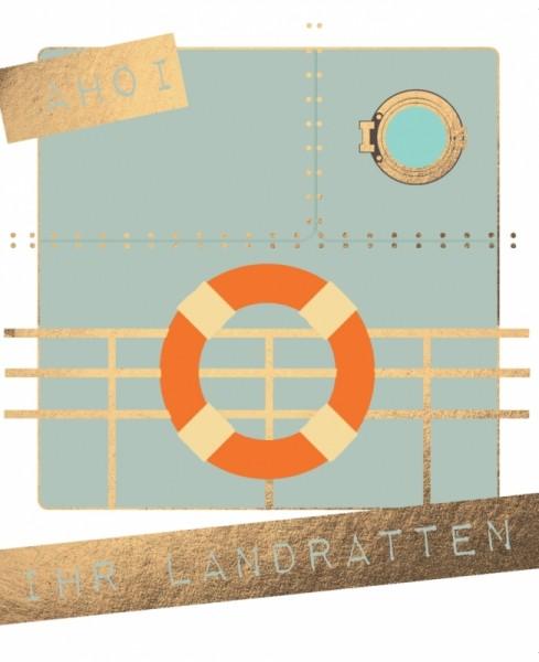 Postkarte Ahoi ihr Landratten Goldfolie