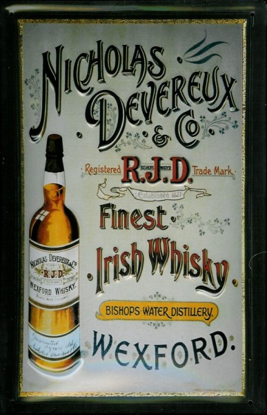 Blechschild Nicholas Devereux & Co. Irish Whisky Wexford retro Schild Nostalgieschild