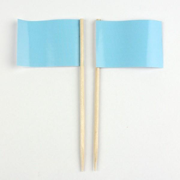 Party-Picker Flagge Uni Hellblau Babyblau Papierfähnchen in Spitzenqualität 50 Stück Beutel