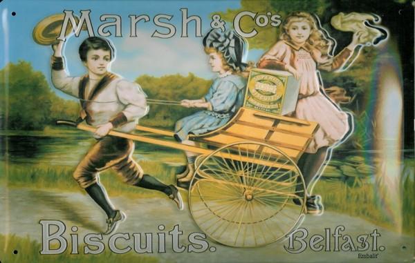 Blechschild Marsh & Cos Biscuits Belfast Riksha retro Schild Reklameschild