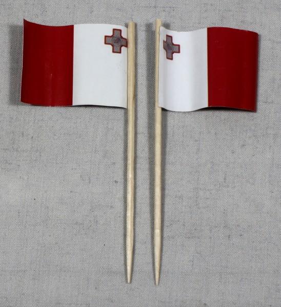 Party-Picker Flagge Malta Papierfähnchen in Spitzenqualität 50 Stück Beutel