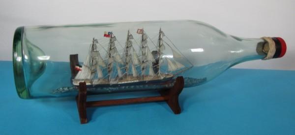 Buddelschiff PREUSSEN mit Segel in 3 Liter Flasche