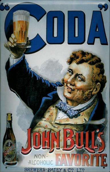 Blechschild Coda John Bulls favorite non alcoholic alkoholfreies Bier Schild Werbeschild
