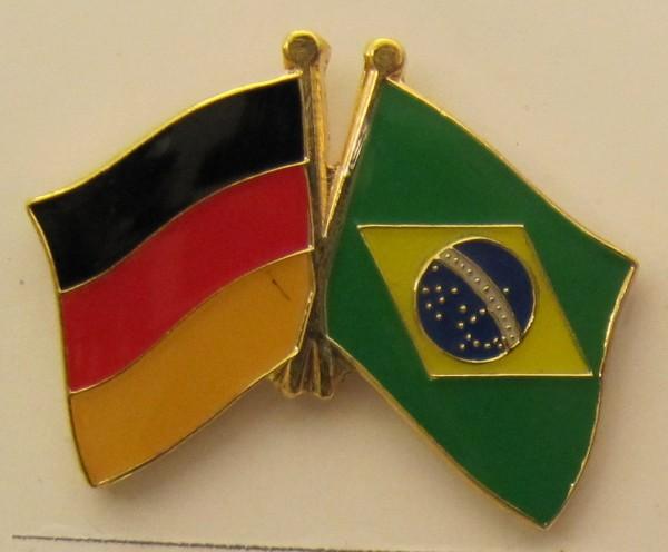 Brasilien / Deutschland Freundschafts Pin Anstecker Flagge Fahne Nationalflagge