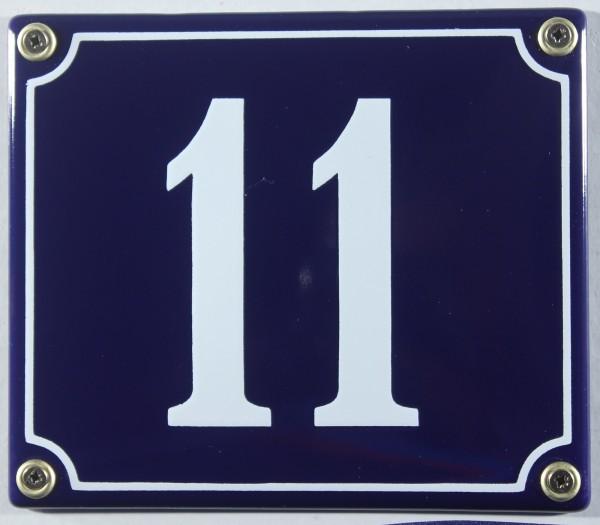 Hausnummernschild Emaille 11 blau - weiß 12x14 cm sofort lieferbar Schild Emaile Hausnummer Haus Num
