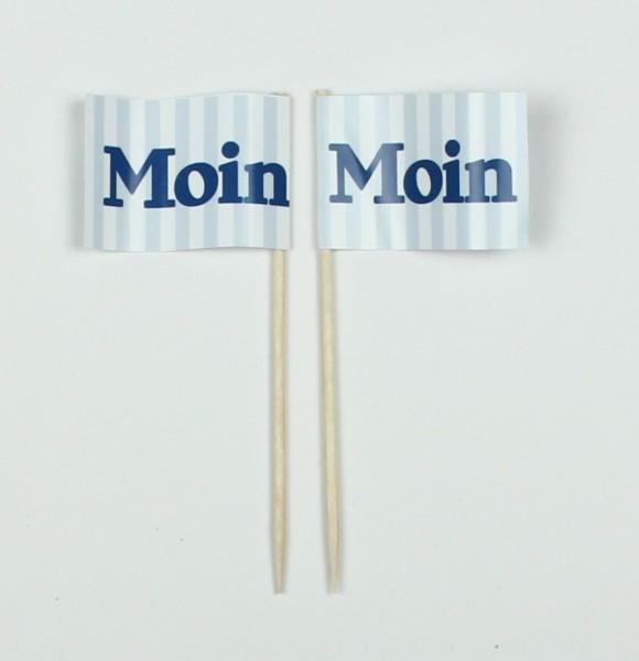 """Party-Picker Flagge """"Moin"""" blau/weiß Papierfähnchen in Spitzenqualität 50 Stück Beutel"""
