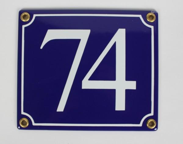 74 blau Serif 14x12 cm sofort lieferbar Schild Emaille Hausnummer