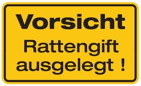 Aluminium Schild Vorsicht Rattengift ausgelegt 120x200 mm geprägt