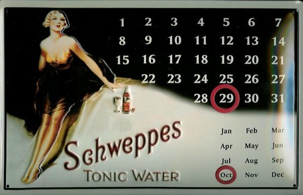 Blechschild Schweppes Tonic Water Magnet Kalender Schild Dauerkalender Werbeschild
