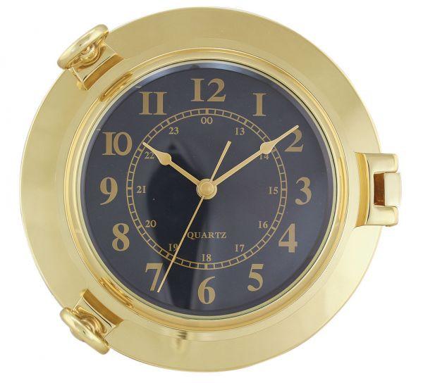 Uhr im Bullauge 22cm Messing Quartzwerk schwarzes Ziffernblatt