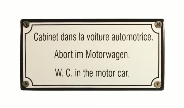 Eisenbahn Schild Abort im Motorwagen Emaille Toilettenschild
