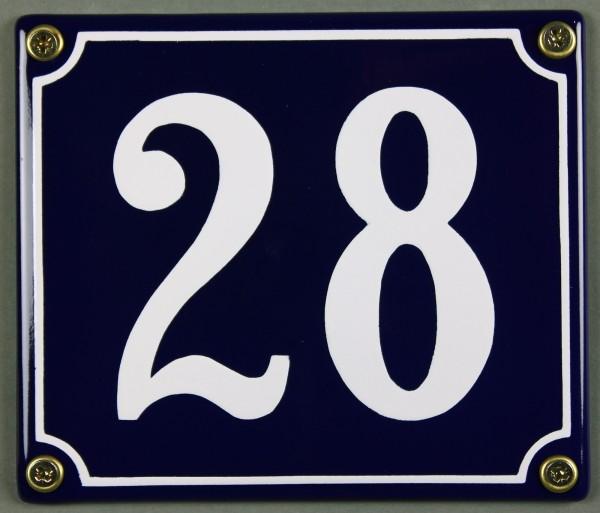 Hausnummernschild Emaille 28 blau - weiß 12x14 cm sofort lieferbar Schild Emaile Hausnummer Haus Num