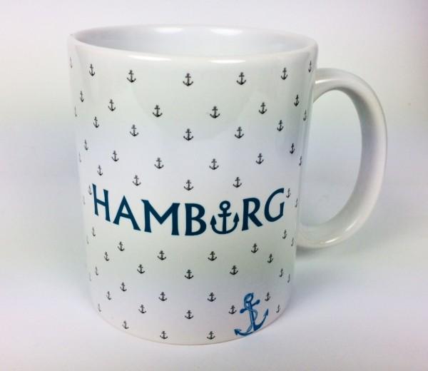 Hamburg Becher mit kleinen Ankern Kaffeebecher Kaffeepott Tasse Anker