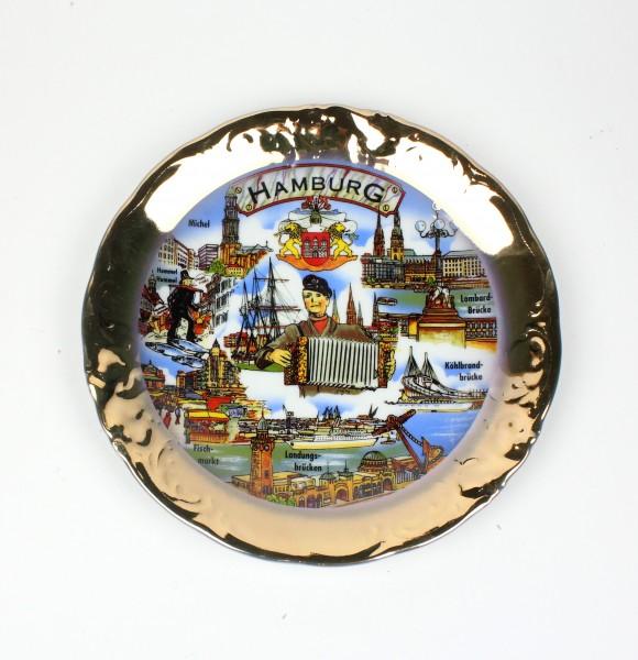 Wandteller Iris-Teller Hamburg Souvenir Teller mit Wandaufhängung