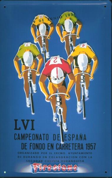 Blechschild Nostalgieschild Firestone Radrennen Spanien