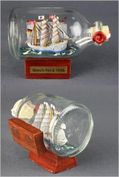 Buddelschiff Gorch Fock 7,2x4,5 cm Kühlschrankmagnet mit 2 Stück 10x3 mm Neodym Magnet Souvenir