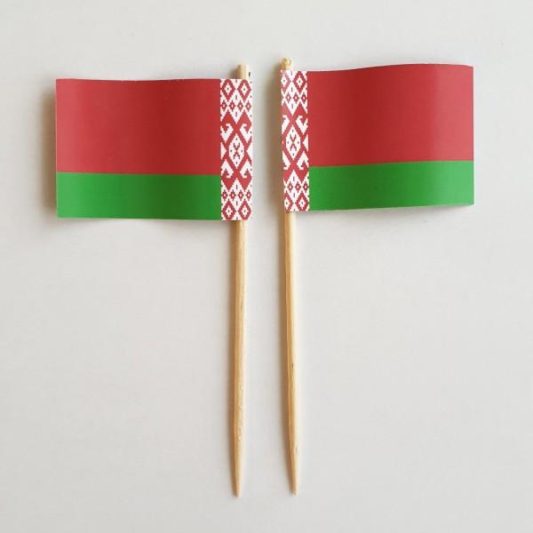 Party-Picker Flagge Weißrussland Papierfähnchen in Spitzenqualität 50 Stück Beutel