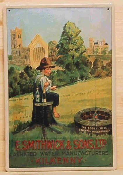 Blechschild Smithwick & Sons Water Mineralwasser Schild Wasser Brunnen Werbeschild