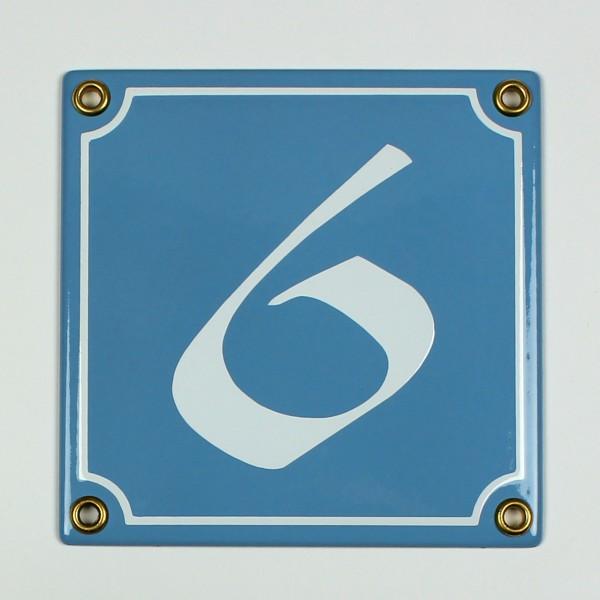 6 oder 9 hellblau / weiß Schwabacher 12x12 cm sofort lieferbar 1-stellig Schild Emaille Hausnummer