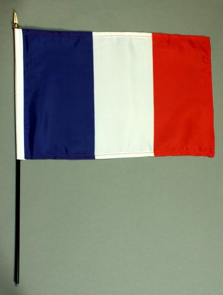 Tischflagge Frankreich 20x30 cm optional mit Tischflaggenständer aus Mahagoni Holz