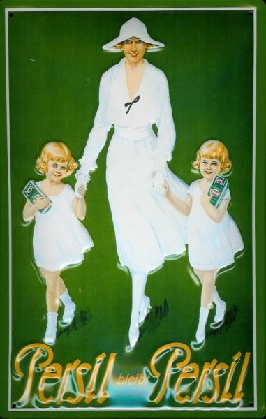 Blechschild Persil bleibt Persil Frau 2 Kinder Waschpulver Schild retro Werbeschild Nostalgieschild