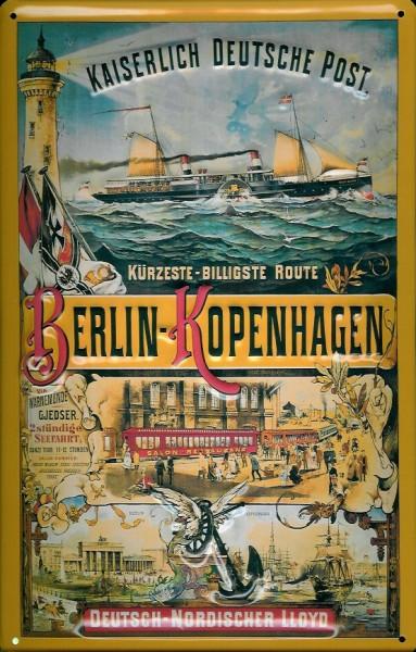 Blechschild Berlin Kopenhagen Schiff Kaiserliche Deutsche Post Schild Nostalgieschild