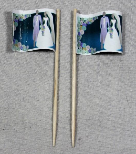 Party-Picker Flagge Hochzeit 1 Brautpaar Papierfähnchen in Spitzenqualität 50 Stück Beutel