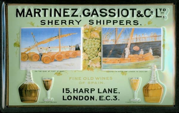Blechschild Martinez Gasiot Sherry shipper London Aperitif Schild Werbeschild