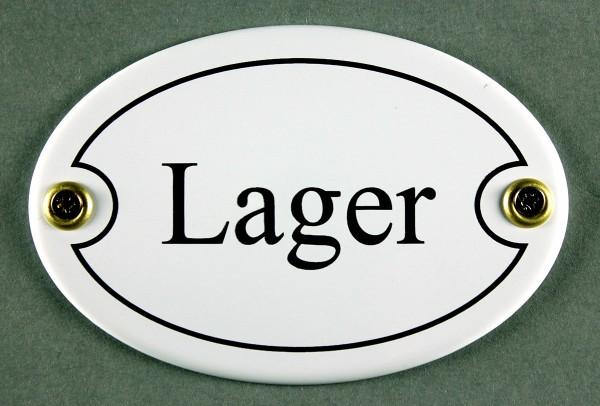 Emaille Türschild Lager weiss oval Schild