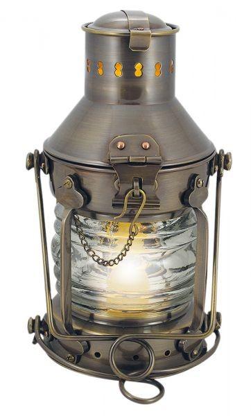 Ankerlampe Schiffslampe elektrisch 24cm Messing antik