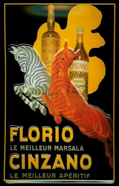 Blechschild Cinzano Florio Marsala Zebra Aperitif Nostalgie Werbung Schild