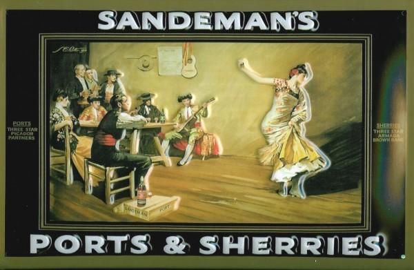 Blechschild Sandeman Sherry Kneipe Bar Tänzerin Schild retro Werbeschild