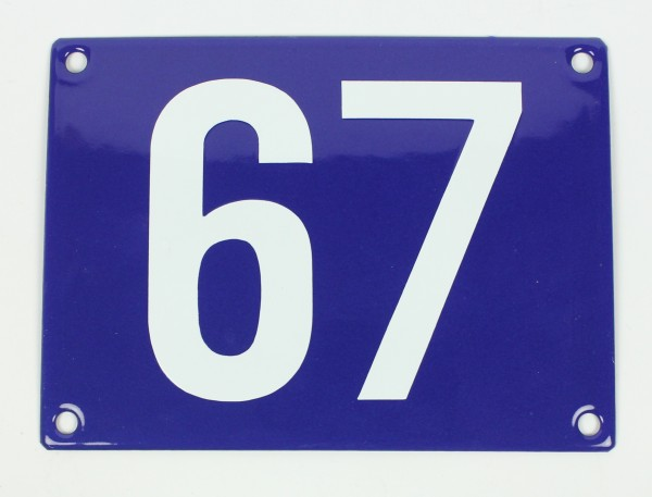 67 Ohne Rahmen blau Blockschrift 12x18 cm sofort lieferbar Schild Emaille Hausnummer
